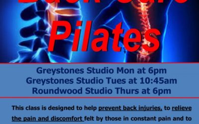 Back Care Pilates Classes – now available in Roundwood and South Beach Studios